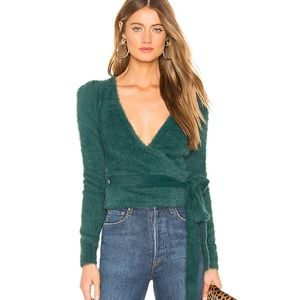 NWOT MAJORELLE EMERALD COCO WRAP SWEATER IN